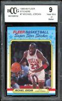 1988-89 Fleer Stickers #7 Michael Jordan Card BGS BCCG 9 Near Mint+