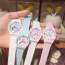 Cute Ladies Girls Silicone Watch Flamingo Print Dial Cartoon Wristwatch Strap