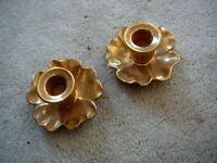 STANGL Vintage GRANADA GOLD MID CENTURY MODERN ART POTTERY FLORAL CANDLE HOLDERS
