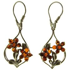 BALTIC AMBER STERLING SILVER 925 DROP DANGLING HOOPS FLOWER EARRINGS JEWELLERY