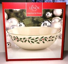 """NEW LENOX LARGE HOLIDAY BOWL WITH HOLLY AND BERRY DESIGN - 10.25""""- ORIGINAL BOX"""