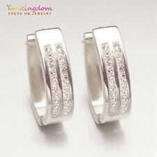 Trendy Small Clear Round Cubic Zircon Inlay White Gold Plated Lady Hoop Earrings