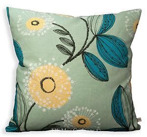 Blendworth Designer Tootsie Floral Blue Yellow Fabric Cushion Sofa Pillow Cover