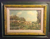 "Vintage  ART LORE Alfred Sisley Print Framed - LE LOING 11"" X 15"""