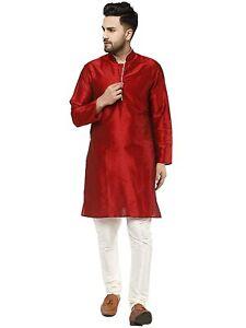 New Traditional India & Pakistan Men's Dupion Art Silk Straight Kurta Pajama Set