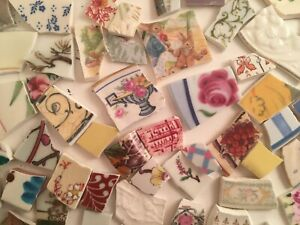 Broken China Mosaic Tiles Huge Lot 5 lbs Mostly Flowers Leaves Borders Vintage