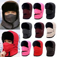 Mens Women Winter Russian Hat Trooper Snow Hats Ushanka Aviator Trapper Mask Cap