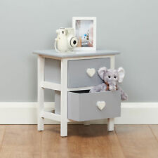 Small Grey Heart Bedside Table 2 Drawer Nightstand Kids/Childrens Home Furniture