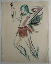 Dessin Ancien Gouache Étude de Personnage Homme c.1950 Y. MILIN #58