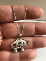 LARGE ELEPHANT NECKLACE PENDANT W/  LAB DIAMONDS / 925 STERLING SILVER / 18''