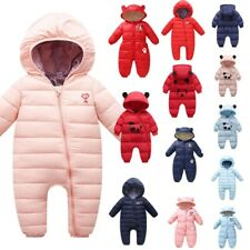 Newborn Infant Baby Boys Girls Winter Warm Thick Romper Hooded Jumpsuit Coat