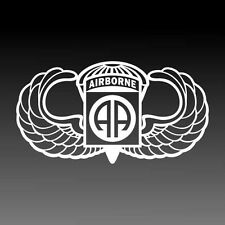 82nd Airborne Jump Wings Decal Parachutist Badge Military Sticker Lg