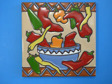 Ceramic Art Tile 6x6 Chili Colorful Chilies in bowl kitchen wall trivet New L45
