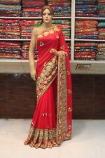 Indian Designer Kundan & Pearl Work Hand Crafted Saree Sari Bridal Party Dress