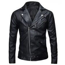 Men's Autumn Leather Jacket Slim Fit Motorcycle Jacket Zipper Casual Coat