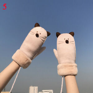 Women Girls Cat Gloves Halter Winter Warm Thick Gloves Cartoon Riding Windproof