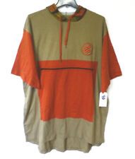 Rocawear Classic Mens 3XB Zip Pocket Hooded Khaki & Orange Slim Long Shirt New