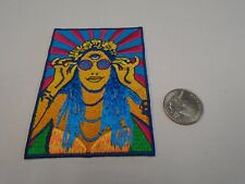 Hippie Girl With Sunglasses Psychedelic Sew/IRON ON EMBROIDERED PATCH NEW