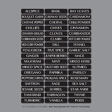51 x Spice / Herb Storage Jar Labels Stickers Decals - 10mm x 48mm