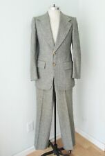 Vtg 70s Superfly Speckled Green Tweed 2-Pc Disco Pimp Suit Flare Leg Pants 38
