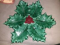 """Vintage Lefton Christmas Holly Berry four Leaf Candy Nut Dish 14"""" large dish"""