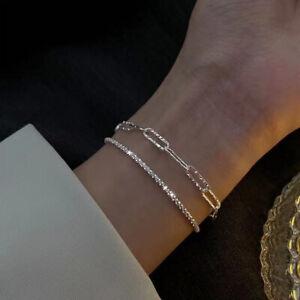 2pcs 925 Silver Gypsophila Flash Chain Bracelet Bangle Women Adjustable Gifts