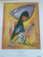 TED DeGRAZIA Vtg 1971 Collograph SOUTHWEST American Indian MY FIRST HORSE