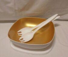 BNIP TUPPERWARE Allegra Square Bowl and Salad Servers WHITE & GOLD