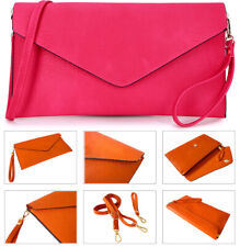 Fuschia Pink Womens Oversize Clutch Bag Ladies Large Envelope Purse Evening Bag
