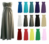 WOMENS BOW KNOT TIE STRAPLESS MAXI DRESS LADIES BOOBTUBE BANDEAU DRESS SIZE 8-26
