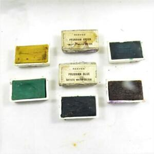 REEVES WATERCOLOUR ARTIST PAINT 7 x CERAMIC small palettes / PAN vintage
