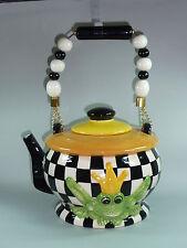 Jameson&Tailor Teekanne  Perlenhenkel m. Frosch  1,5  Keramik-handgemalt
