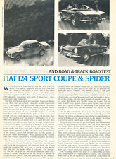 1968 Fiat 124 Sport Coupe and spider Original Car Review Print Article J443