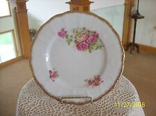Rose Blossom Floral Spray Gilt Gold Trim Porcelain Decorative Vintage Plate