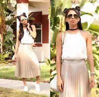 Zara Sz Medium Accordion Pleated Champagne Gold Metallic Midi Skirt Blogger Fave