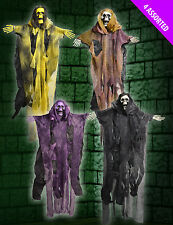 4 x Large Hanging Skeletons with coloured Faces 50cm assorted Halloween decorati