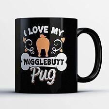 Pug Coffee Mug - Wigglebutt Pug - Adorable 11 oz Black Ceramic Tea Cup - Cute Pu