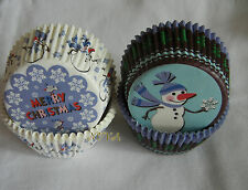 100 xmas snowman /snowflake Cupcake liners baking paper cup muffin case 50x33mm