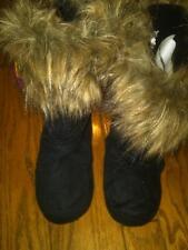 NWT LADIES GIRLS BLACK SLOUCHY SLIPPER BOOTS FAUX FUR TRIM WEAR 3 WAYS SZ 5-6