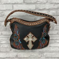 Blazin Roxx Black Bling Cross Embroidered Pink Turquoise Handbag Purse