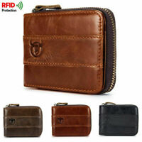 RFID BULLCAPTAIN Men's Genuine Leather Cowhide Zip Around Card Slots Coin Wallet