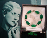 ANTIQUE ART DECO CHRYSOPRASE JADE GREEN 9CT GOLD BRACELET 1930s BEAUTIFUL GIFT