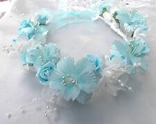Aqua Blue/White pearls Flower Circlet - Wedding Halo, Flower Girl - by Valerie J
