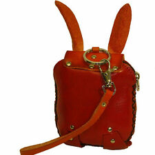 Genuine Leather Wristlet Wallet/Change Purse, Cute ! (OrangeRed Bunny)