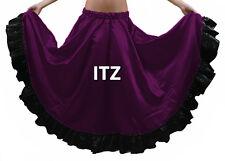 Designer Satin 12 Yard Flamenco Skirt Belly Dance Gypsy Tribal Ruffle Jupe ATS
