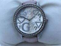 Guess Women Watch Pink Genuine Leather Band Japan Movt Analog Wrist WATCH