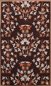 Dark Brown Floral Modern Oriental Area Rug Contemporary Hand-Tufted Wool 5x8 ft