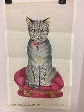 "Vintage Barbara Eyre Ltd. Needlepoint Canvas Painted Cat Mesh 14"" X 23"""