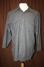 Pendleton Pearl Snap Shirt Gray Wool Western Sleeves Have Been Shortened Large