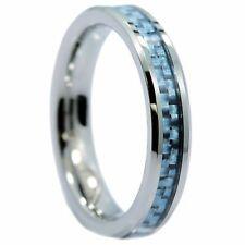 4mm Tungsten Carbide Blue Carbon Fiber Inlay Wedding Band